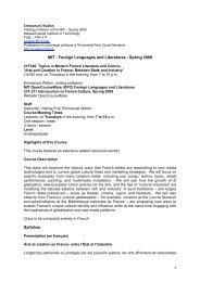 1 MIT - Foreign Languages and Literatures ... - ReprésentationS