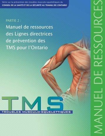 Manuel de ressources des Lignes directrices deprévention des TMS