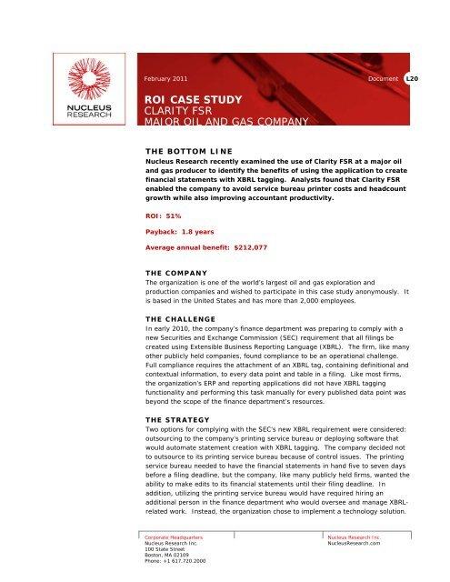 Cognos FSR XBRL ROI case study