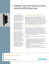 Enhance your QUADLOG system with the DP/IO Bus Link - Siemens ...
