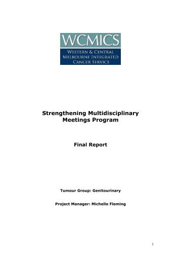 Strengthening Multidisciplinary Meetings Program Final ... - wcmics