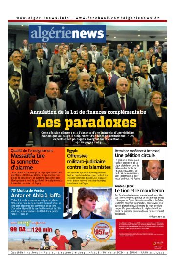 Fr-04-09-2013 - Algérie news quotidien national d'information