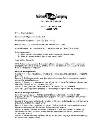 education department lesson plan - Arizona Theatre Company