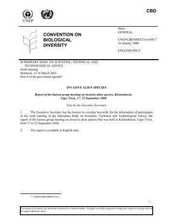 unep/cbd/sbstta/6/inf/7 - Convention on Biological Diversity