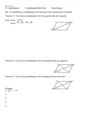 Geo 9 Ch 5 1 5.1 Quadrilaterals Parallelograms/Real World Visual ...