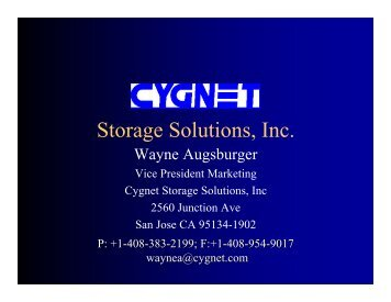Cygnet Storage Solutions, Inc. - THIC