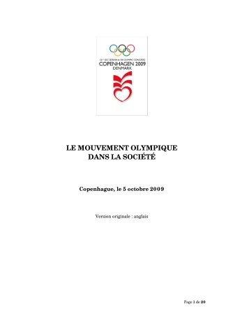 le mouvement olympique dans la société - International Olympic ...