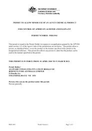 PERMIT TO ALLOW MINOR USE OF AN AGVET ... - Pest Genie