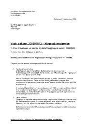 Klage på avslag Fyllingsdalen gnr 20 bnr 1410 - Bergen kommune