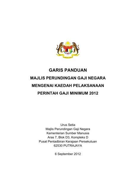 Garis Panduan Pelaksanaan Perintah Gaji Minimum 2012