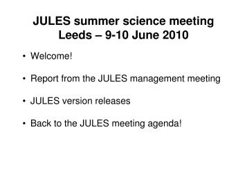 meeting plan, introduction and updates - JULES