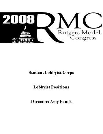 Student Lobbyist Corps Lobbyist Positions Director: Amy Funck - IDIA