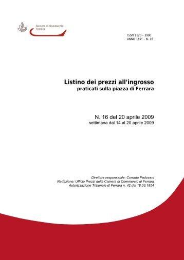 LISTINO 16 - Camera di Commercio di Ferrara
