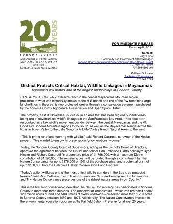 District Protects Critical Habitat, Wildlife Linkages in Mayacamas