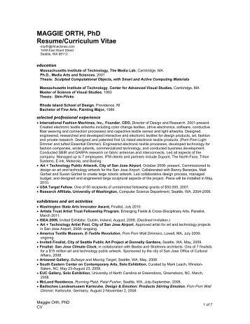 MAGGIE ORTH, PhD Resume/Curriculum Vitae  Resume Or Curriculum Vitae