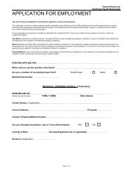NHW Application for Employment form - Northeast Health Wangaratta