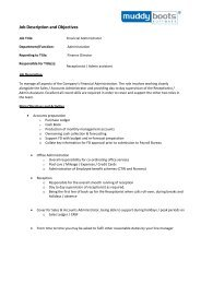 Job Description and Objectives - Muddy Boots Software