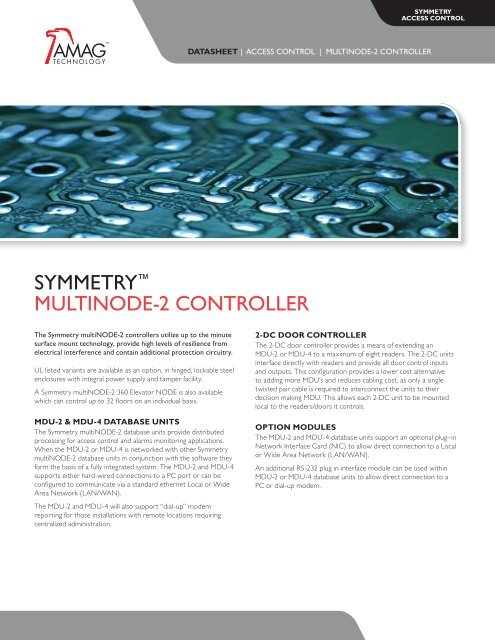 sYmmetrY™ multinoDe-2 controller - AMAG