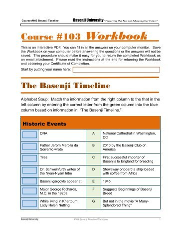 Course #103 Workbook - the Basenji Club of America