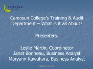 Camosun College's Training & Audit Department – What is it all ...