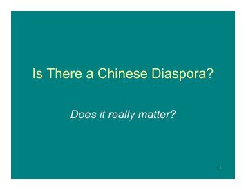 Is There a Chinese Diaspora?