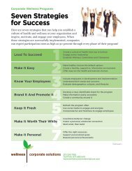 Seven Strategies for Success - Wellness Corporate Solutions