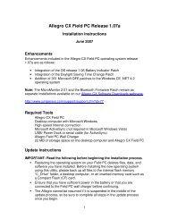 Allegro CX Field PC Release 1.07a - Juniper Systems