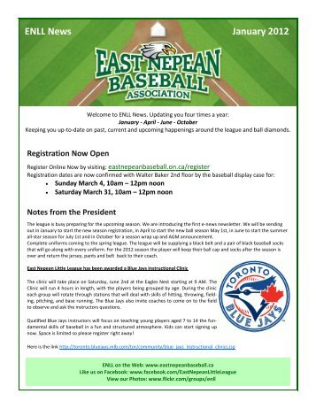 ENLL News January 2012 - East Nepean Little League