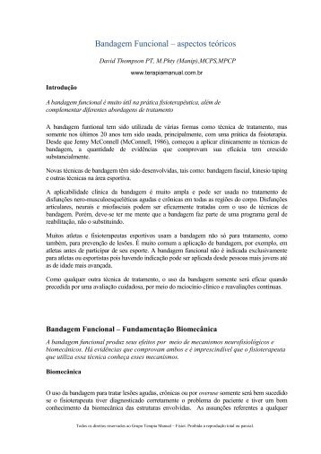 Bandagem Funcional – aspectos teóricos - Terapia Manual
