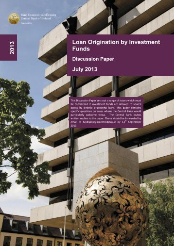 Discussion Paper Loan Origination by Investment Funds