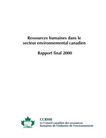Ressources humaines dans le secteur environnemental ... - UQAC
