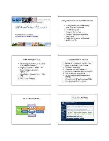 JISC Low Carbon ICT project