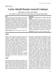 Lateks Allerjili Hastada Anestezik Yaklaşım - Yeni Tıp Dergisi