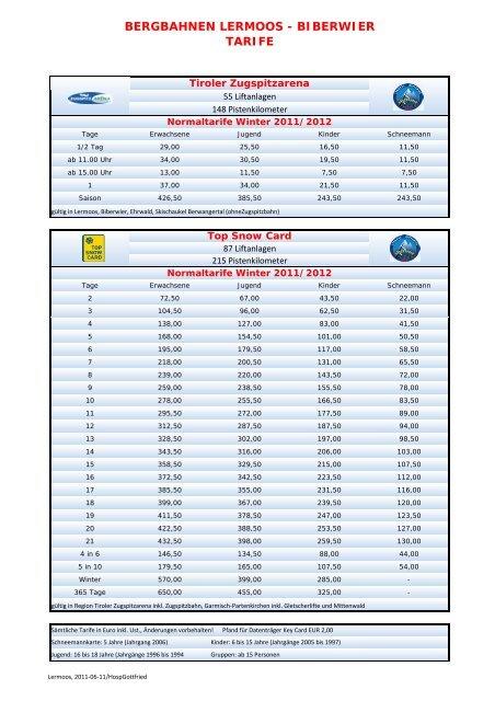 Prices Winter 2011/2012 - Bergbahnen Langes Lermoos Biberwier