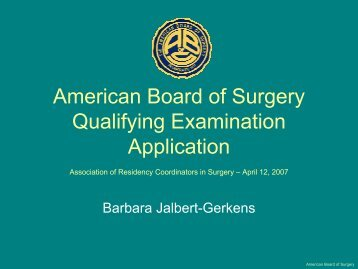 ABS Qualifying Examination Application 2007 - Association of ...