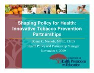 to view the slides for this presentation - Society for Public Health ...