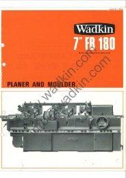 Wadkin FB 180 Planer Moulder Literature