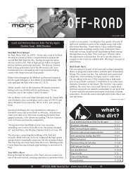 what's the dirt? - Minnesota Off-Road Cyclists