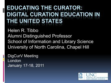 Educating the Curator: Digital Curation Education in North ... - DigCurV