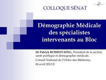 Démographie des spécialistes intervenant au bloc opératoire