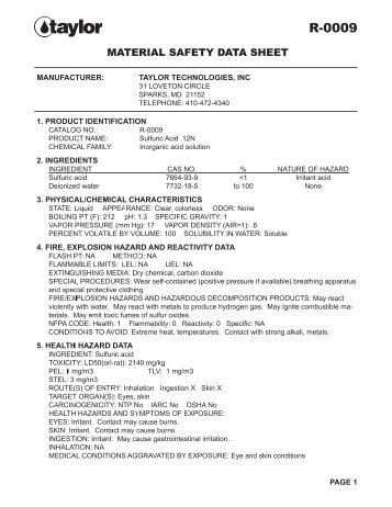 material safety data sheet manufacturer: taylor technologies, inc 31 ...