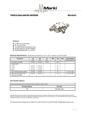 Triple Balanced Mixers M2 0243 Marki Microwave