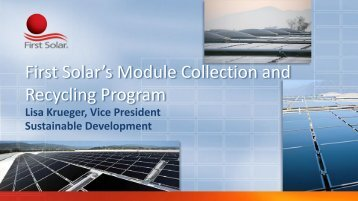 First Solar's Module Collection and Recycling ... - Solar Scorecard