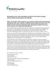 Mobile Loyalty plc – Riksmedia April 23rd 2013 – SWEDISH