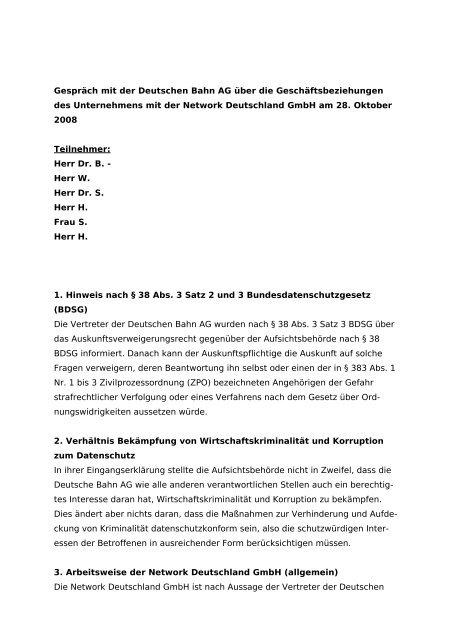 Gespräch mit der Deutschen Bahn AG über die ...