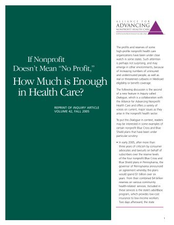 """If Nonprofit Doesn't Mean """"No Profit,"""" How Much is Enough in Health ..."""