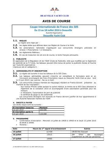 Avis de course - 5O5 Class France