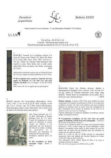 Bulletin 39 - Anne Lamort Livres Anciens
