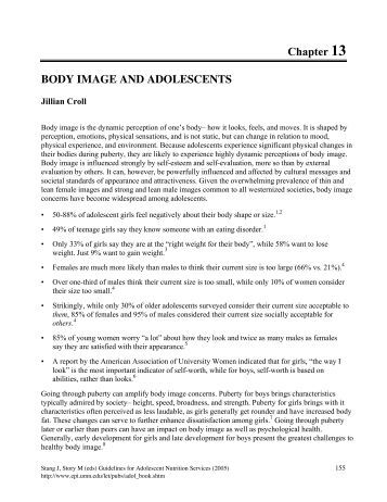 body image in adolescents Body image and body change strategies among tongan adolescents in tonga  and new zealand 26th november 2010, volume 123 number 1326 marita p.