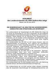DOKUMENT des Landesvorstandes UIL-SGK Südtirol-Alto Adige